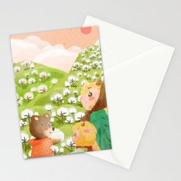 Girl And Cute Bear Stationery Cards