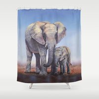 novelty Shower Curtains featuring Elephants Mom Baby by Moody Muse