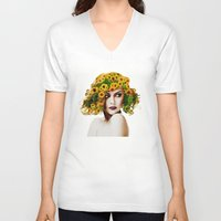 sunflowers V-neck T-shirts featuring Sunflowers by EclipseLio