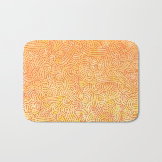 Ombre yellow and orange swirls doodles Bath Mat
