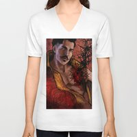 "dragon age inquisition V-neck T-shirts featuring Dragon Age Inquisition - Dorian Pavus - Thorn by Barbara ""Yuhime"" Wyrowińska"