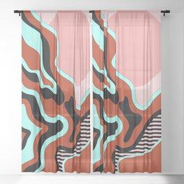 Beautiful Journey - Rust Turquoise Sheer Curtain