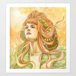 Girl In Orange Wind Art Print