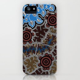 Water Lilly Dreaming - Authentic Aboriginal Art iPhone Case