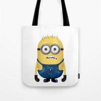 minion Tote Bags featuring Minion  by Lyre Aloise