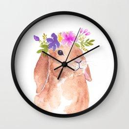 Floppy Ear Bunny Floral Watercolor Wall Clock