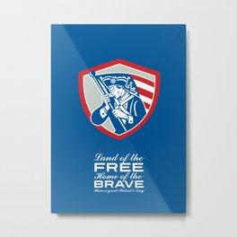 Patriots Day Greeting Card American Patriot  Waving Flag Shield Metal Print