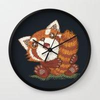 red panda Wall Clocks featuring Panda by Toru Sanogawa