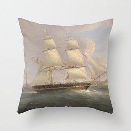 Vintage Fleet of Sailboats Painting (1845) Throw Pillow