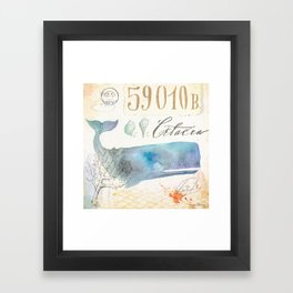 Watercolor Whale Framed Art Print