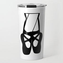 Black Ballet Shoes En Pointe Silhouette Illustration Travel Mug