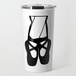 Black Ballet Shoes En Pointe Silhouette Illustration Travel Mug