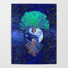 Tree of Life Yin Yang Earth Space Poster