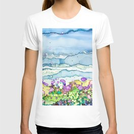 Lavender Field and Blue Sky Alcohol Ink Painting T-shirt