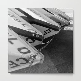 Black and White Boats Metal Print
