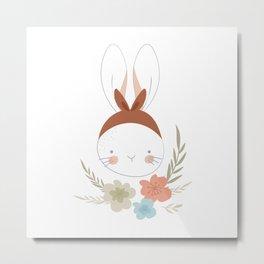 Cute Girly Bunny Metal Print