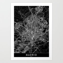 Madrid Black Map Art Print