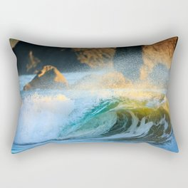 A Wave Lights Up at Sunset Rectangular Pillow