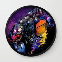 venom Wall Clocks featuring Venom by Vincent Vernacatola