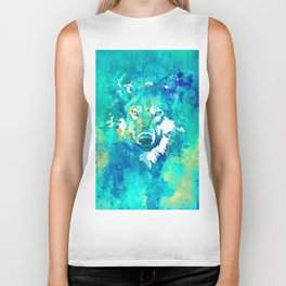 Teal yellow hand painted watercolor wolf Biker Tank