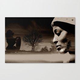 TALK TO THE LION... - sepia Canvas Print
