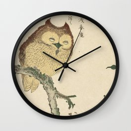 Japanese Woodcut: Owl on a Magnolia Branch Wall Clock