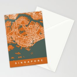 Singapore Map | Coffee & Green | More Colors, Review My Collections Stationery Cards