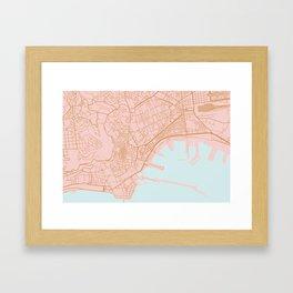 Napoli map Italy Framed Art Print