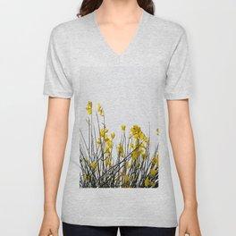Minimal Garden -Yellow Version - Black Stems with Yellow Petals On White #decor #society6 #buyart Unisex V-Neck