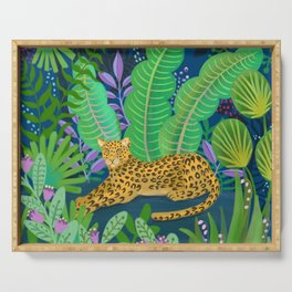 Jungle Leopard in the Evening Serving Tray