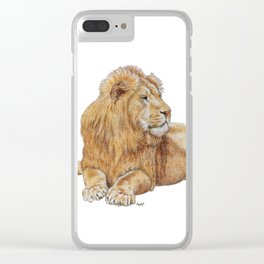 Relaxing Lion Clear iPhone Case