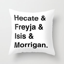 Goddesses of Magick | Hecate Freyja Isis Morrigan Throw Pillow
