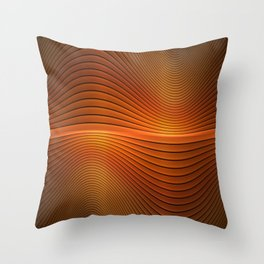 Orange Sine Wave Throw Pillow