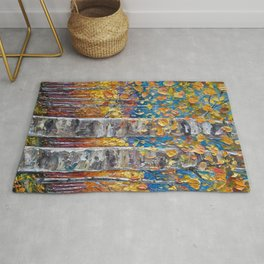 Colourful Autumn Aspen Trees Rug