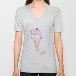 Ice cream Love watercolor illustration summer love pink strawberry Unisex V-Neck