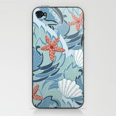 Sea ​​pattern with shells and starfish iPhone & iPod Skin