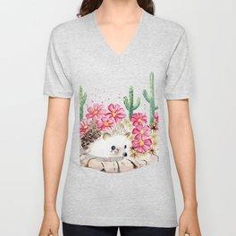 Camouflage - Hedgehog and Cactus Unisex V-Neck