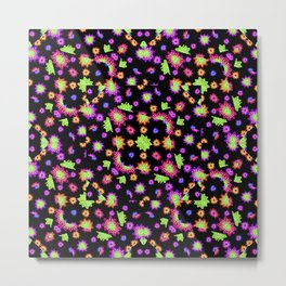 Dark Multicolored Stylized Floral Pattern Metal Print