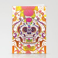 sugar skulls Stationery Cards featuring Sugar Skulls by Spooky Dooky