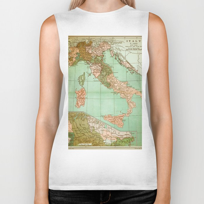 Italy in 1490 - Vintage Map Series Biker Tank