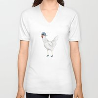 vans V-neck T-shirts featuring Spring Chicken by Sophie Corrigan