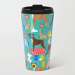 Boxer dog breed beach summer fun dogs boxers pet portrait pattern Travel Mug