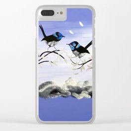 Purple Art with Gray Clear iPhone Case