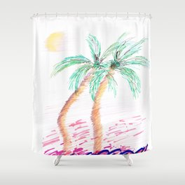 """""""Sister Palms"""" Mixed Media Sketch Shower Curtain"""