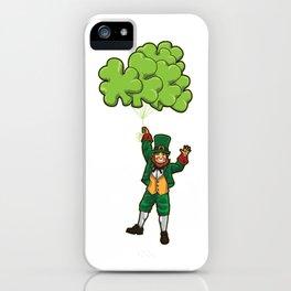 Leprechaun With Cloverleaf Balloons - Irish Fly iPhone Case