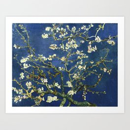 Almond Blossom - Vincent Van Gogh (dark blue) Art Print