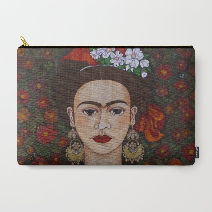 Frida_with_butterflies_CarryAll_Pouch_by_Madalena_LobaoTello__Large_125_x_85