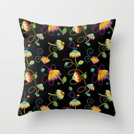Paper Cut Floral on Black Throw Pillow