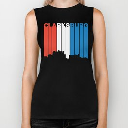 Red White And Blue Clarksburg West Virginia Skyline Biker Tank