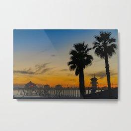 Sunset Colors at Huntington Beach Pier Metal Print